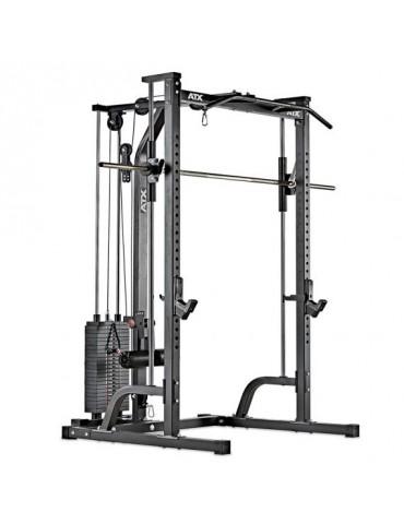 crack, cage a squat, poulie haute et basse et colonne de poids marque ATX