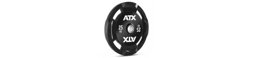 Disques de poids olympique à 4 poignées pour prise en main facile avec logo ATX