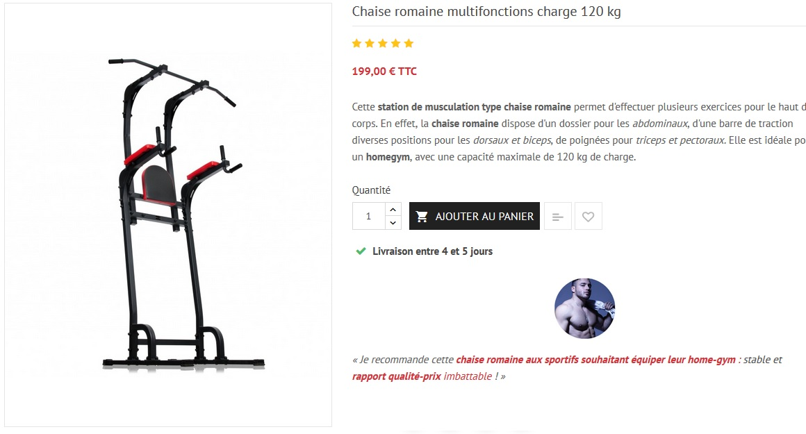 chaise romaine musculation homegym
