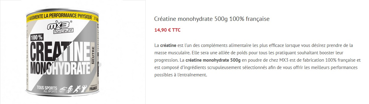 Créatine musculation nutrition