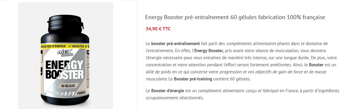Energy booster musculation